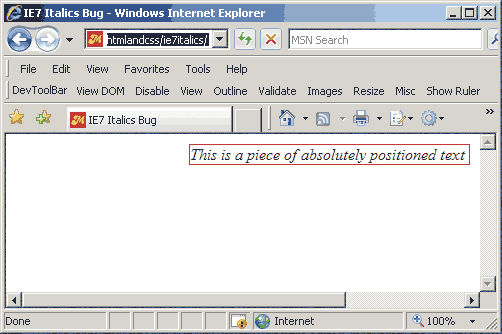 screenshot showing horizontal scrollbars in IE7 caused by absolutely positioning italicized text