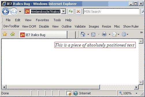 ie7 bug posicion absoluta y font italic