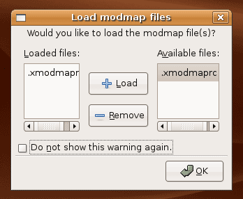 Dialogue showing adding the xmodmaprc file to be loaded when x starts up