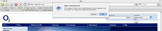 O2 website with alert saying 'Your browser is out of date'